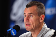 Head coach Billy Donovan of the Florida Gators addresses the media during a press conference prior to facing the Virginia Cavaliers in the second round of the NCAA Men's Basketball Tournament at CenturyLink Center on March 15, 2012 in Omaha, Nebraska.