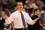 Head coach Billy Donovan of the Florida Gators reacts late in the second half while taking on the Louisville Cardinals during the 2012 NCAA Men's Basketball West Regional Final at US Airways Center on March 24, 2012 in Phoenix, Arizona.