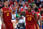 Chris Babb #2 and Korie Lucious #13 of the Iowa State Cyclones celebrate after a last second lay up at the end of the first half against the Notre Dame Fighting Irish during the second round of the 2013 NCAA Men's Basketball Tournament at UD Arena on March 22, 2013 in Dayton, Ohio.