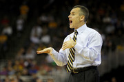 Head coach Billy Donovan of the Florida Gators reacts as he coaches against the Virginia Cavaliers during the second round of the 2012 NCAA Men's Basketball Tournament at CenturyLink Center on March 16, 2012 in Omaha, Nebraska.