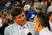TNT sideline reporter Craig Sager (L) interviewes head coach Billy Donovan of the Florida Gators at halftime against the Norfolk State Spartans during the third round of the 2012 NCAA Men's Basketball Tournament at CenturyLink Center on March 18, 2012 in Omaha, Nebraska.