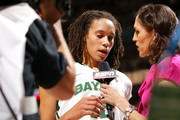 Brittney Griner #42 of the Baylor Bears is interviewed by ESPN's Rebecca Lobo after the first half against the Stanford Cardinal during the National Semifinal game of the 2012 NCAA Division I Women's Basketball Championship at Pepsi Center on April 1, 2012 in Denver, Colorado.