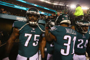 Patrick Robinson #21 of the Philadelphia Eagles is congratulated by his teammates after scoring a first quarter touchdown after returning an interception against the Minnesota Vikings in the NFC Championship game at Lincoln Financial Field on January 21, 2018 in Philadelphia, Pennsylvania.