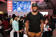 Professional football player Chris Ivory celebrates the Super Bowl at the Verizon Power House Super Bowl viewing party at Bryant Park on February 2, 2014 in New York City.