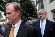 New York Giants owner John Mara (L) and Carolina Panthers owner Jerry Richardson (R) leave together following a news conference on July 25, 2011 in Washington, DC.  The NFL players and owners announced they have reached agreement and ended the lockout.