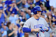 Anthony Rizzo #44 of the Chicago Cubs reacts after striking out in the first inning against Julio Urias #7 of the Los Angeles Dodgers in game four of the National League Championship Series at Dodger Stadium on October 19, 2016 in Los Angeles, California.