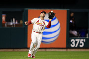 Matt Holliday #7 of the St. Louis Cardinals fields a ball during Game One of the National League Championship Series at Busch Stadium on October 11, 2014 in St Louis, Missouri.