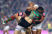 Greg Inglis of the Rabbitohs is tackled during the NRL Preliminary Final match between the Sydney Roosters and the South Sydney Rabbitohs at Allianz Stadium on September 22, 2018 in Sydney, Australia.
