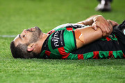 Greg Inglis of the Rabbitohs looks dejected after defeat during the NRL Preliminary Final match between the Sydney Roosters and the South Sydney Rabbitohs at Allianz Stadium on September 22, 2018 in Sydney, Australia.