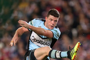 Chad Townsend of the Sharks kicks during the NRL Qualifying Final match between the Sydney Roosters and the Cronulla Sharks at Allianz Stadium on September 8, 2018 in Sydney, Australia.
