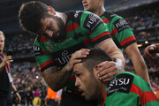 Adam Reynolds and Greg Inglis of the Rabbitohs celebrates victory during the NRL Semi Final match between the South Sydney Rabbitohs and the St George Illawarra Dragons at ANZ Stadium on September 15, 2018 in Sydney, Australia.