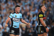 Chad Townsend of the Sharks celebrates winning the NRL Semi Final match between the Cronulla Sharks and the Penrith Panthers at Allianz Stadium on September 14, 2018 in Sydney, Australia.