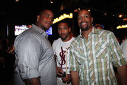 (L-R) Fred Robbins, Terrell Thomas and Michael Boley attend the NY Giants Justin Tuck 4th Annual celebrity billiards tournament at Slate NYC on May 31, 2012 in New York City.