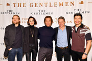 """(L-R) Charlie Hunnam, Michelle Dockery, Matthew McConaughey, Hugh Grant, and Henry Golding attend the NY Photo Call for """"The Gentlemen"""" at The Whitby Hotel on January 11, 2020 in New York City."""