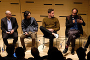 """Michael Stuhlbarg, Timothee Chalamet, Armie Hammer and Luca Guadagnino speak at the NYFF55 Live with FIJI Water featuring """"Call Me By Your Name"""" during the 55th New York Film Festival on October 4, 2017 in New York City."""