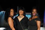 Tamara Simmons, Nicole Davis and Jittaun Hutchinson attend NYFW Little Black Kick Off Party By Society at Broad Street Ballroom on September 05, 2019 in New York City.