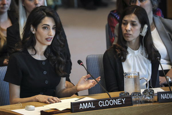 United Nations Security Council Considers Resolution On Sexual Violence In Conflict [event,job,games,black hair,nadia murad basee taha,amal clooney,l-r,violence,language,resolution,united nations security council considers resolution on sexual violence in conflict,united nations security council,member nations,conflict]