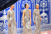 (L-R) Models Karen Bjornson, Pat Cleveland and Alva Chinn walk the runway at the Naeem Khan show during New York Fashion Week: The Shows at Gallery I at Spring Studios on February 12, 2019 in New York City.