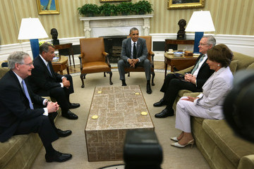 Nancy Pelosi Harry Reed Barack Obama Meets with Members of Congressional Leadership