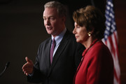 """House Budget Committee ranking member Rep. Chris Van Hollen (D-MD) (L) and House Minority Leader Nancy Pelosi (D-CA) answer reporters' questions during her weekly news conference at the U.S. Capitol February 14, 2013 in Washington, DC. Pelosi blames GOP leaders in the House for the looming """"sequester,"""" automatic spending cuts to military and nonmilitary programs that are set go into affect March 1 if Congress and the White House cannot find common ground on a federal budget."""