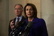 U.S. House Minority Leader Rep. Nancy Pelosi (D-CA) (R) speaks as ranking member of House Ways and Means Committee Rep. Richard Neal (D-MA) (L) listens during a news conference November 9, 2017 on Capitol Hill in Washington, DC. Pelosi held her weekly news conference to discuss various topics, including the tax reform bill.