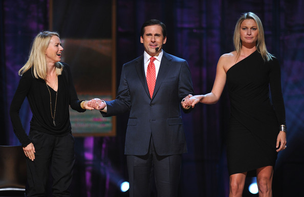 Naomi Watts Actor Steve Carell speak onstage with Naomi Watts (L) at Comedy