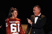 June Ambrose (L) and Joe Zee walk the runway at Naomi Campbell's Fashion For Relief Charity Fashion Show during Mercedes-Benz Fashion Week Fall 2015 at The Theatre at Lincoln Center on February 14, 2015 in New York City.