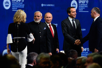 Narendra Modi Russian President Vladimir Putin Attends the Saint Petersburg International Economic Forum
