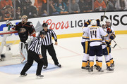 Mattias Ekholm #14, Roman Josi #59, Filip Forsberg #9, Pontus Aberg #46 and Colton Sissons #10 of the Nashville Predators celebrate Aberg's goal as Jonathan Bernier #1 of the Anaheim Ducks looks on in the third period of Game Five of the Western Conference Final during the 2017 Stanley Cup Playoffs at Honda Center on May 20, 2017 in Anaheim, California.