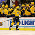 P.K. Subban Photos - P.K. Subban #76 of the Nashville Predators celebrates a second period goal with teammates while playing the Detroit Red Wings at Joe Louis Arena on October 21, 2016 in Detroit, Michigan. - Nashville Predators v Detroit Red Wings