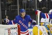 Jesper Fast #17 of the New York Rangers celebrates his second period goal against Pekka Rinne #35 of the Nashville Predators at Madison Square Garden on October 04, 2018 in New York City.