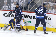 Blake Wheeler #26 of the Winnipeg Jets looks up after taking a penalty against Mattias Ekholm #14 of the Nashville Predators in Game Three of the Western Conference Second Round during the 2018 NHL Stanley Cup Playoffs on May 1, 2018 at Bell MTS Place in Winnipeg, Manitoba, Canada.