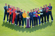 (L-R) Jack Shantry of Worcestershire, Chesney Hughes of Derbyshire, Ben Stokes of Durham, Andrew Gale of Yorkshire, Jos Buttler of Lancashire, Jim Troughton of Warwickshire, Ben Raine of Leicestershire, Ben Duckett of Northamptonshire, James Taylor of Nottinghamshire, Greg Smith of Essex, Yasar Arafat of Surrey, Eoin Morgan of Middlesex, Michael Klinger of Gloucestershire, Steven Davies of Surrey, Marcus Trescothick of Somerset, Rob Key of Kent and Mike Hogan of Glamorgan pose during the NatWest T20 Blast Player Photocall at Edgbaston on April 17, 2014 in Birmingham, England.
