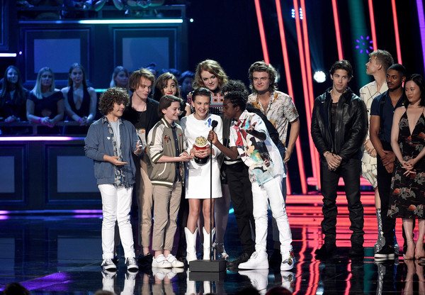 2017 MTV Movie And TV Awards - Show [movie,show of the year,performance,entertainment,event,performing arts,fashion,musical,stage,heater,musical theatre,public event,actors,gaten matarazzo,charlie heaton,tv awards,l-r,award,mtv,show]