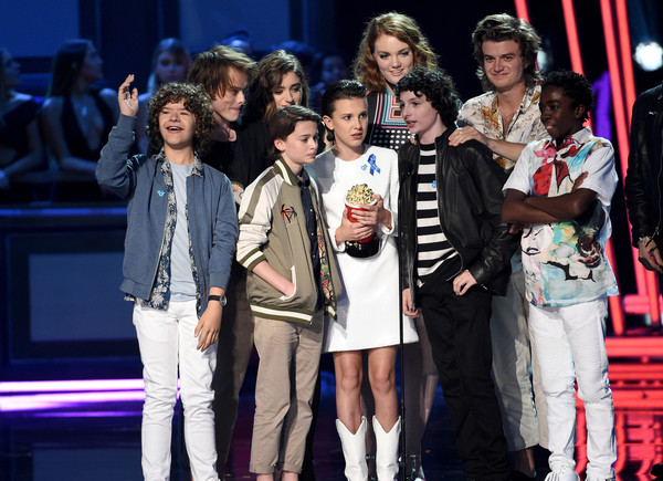 2017 MTV Movie And TV Awards - Show [movie,show of the year,performance,event,fashion,performing arts,public event,fashion design,competition,talent show,stage,musical,actors,gaten matarazzo,charlie heaton,tv awards,l-r,award,mtv,show]