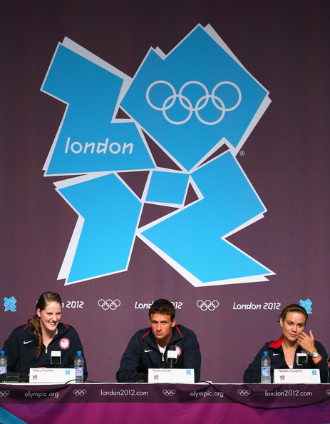 Olympics - Previews - Day - 1 [olympics - previews,design,games,world,event,graphic design,brand,natalie coughlin,ryan lochte,missy franklin,l-r,england,london,main press center,usa swim team,press conference]