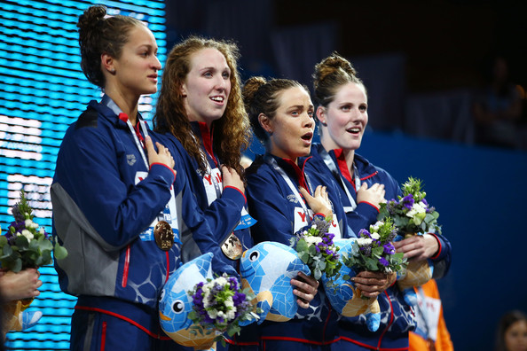 Swimming - 15th FINA World Championships: Day Nine [medal,uniform,award,event,silver medal,championship,gold medal,competition event,team,competition,winners,megan romano,natalie coughlin,missy franklin,shannon vreeland,podium,usa,gold medal,fina world championships,freestyle]