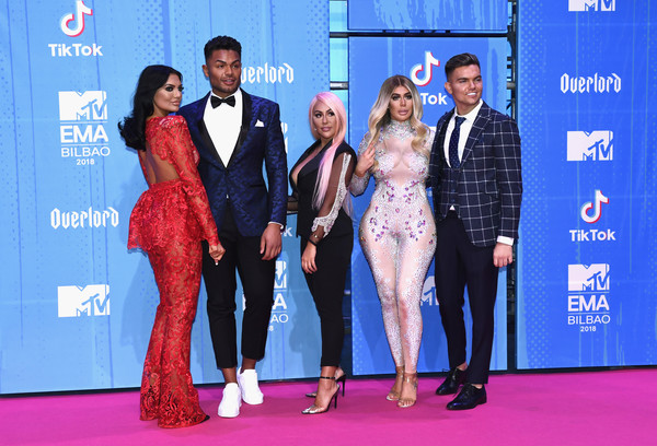 MTV EMAs 2018 - Red Carpet Arrivals [red carpet,carpet,event,fashion,flooring,premiere,performance,suit,award,fashion design,red carpet arrivals,chloe ferry,sophie kasaei,nathan henry,abbie holborn,sam gowland,l-r,bilbao exhibition centre,mtv,mtv emas]