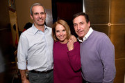 """(L-R) John Molner, Katie Couric and Bill Koenigsberg attend a special screening of National Geographic's upcoming limited series """"Valley Of The Boom"""" at the home of executive producer Arianna Huffington on January 11, 2019 in New York City. The series premieres Sunday, January 13th at 9:00/8:00c."""
