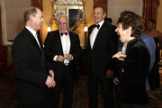 (L-R) Prince Edward, Earl of Wessex, David Pearl, Hugh Bonneville, Paul Roseby OBE and Dawn Airey attend the National Youth Theatre Baroque And Roll Fundraising Gala 2020 at Spencer House on February 11, 2020 in London, England.