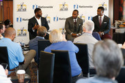 LaDainian Tomlinson (left) interviews nominees of the Walter Payton Man of the Year Award, Anquan Boldon (center) of the San Francisco 49ers and Benjamin Watson of the New Orleans Saints in the Nationwide Lounge at the JW Marriot on February 6, 2016 in San Francisco, California.