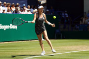 Agnieszka Radwanska of Poland in action during her match against Jelena Ostapenko of Latvia on day seven of the Nature Valley International at Devonshire Park on June 28, 2018 in Eastbourne, United Kingdom.