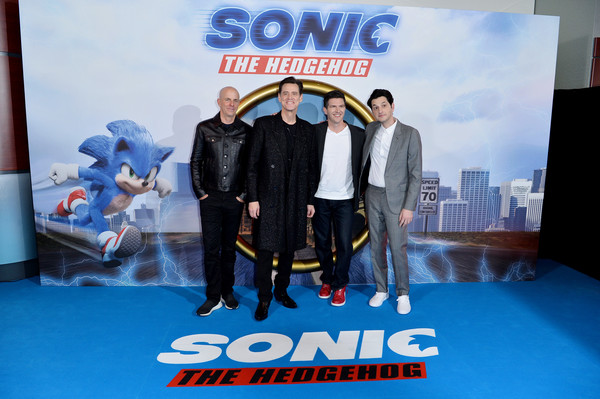 """Sonic the Hedgehog"" London Fan Screening [sonic the hedgehog,action figure,technology,fictional character,advertising,movie,neal h. moritz,jeff fowler,ben schwartz,jim carrey,l-r,vue westfield,london,united kingdom,london fan screening,jim carrey,jeff fowler,sonic the hedgehog,photography,stock photography,photograph,image,getty images]"