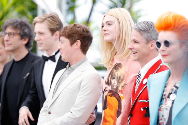 'How to Talk to Girls at Parties' Photocall - The 70th Annual Cannes Film Festival [how to talk to girls at parties,event,fashion,fun,smile,street fashion,team,style,alex sharp,elle fanning,neil gaiman,aj lewis,john cameron mitchell,sandy powell,photocall,l-r,cannes film festival]