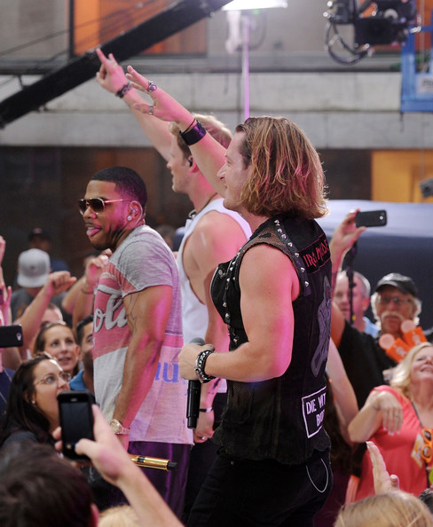 """Florida Georgia Line And Nelly Perform On NBC's """"Today"""" Labor Day Concert [nbcs today show,pink,crowd,basketball,event,tournament,sports,championship,flesh,competition,team sport,nelly,brian kelley,tyler hubbard,l-r,new york new york,nbc,florida georgia line,today labor day concert]"""