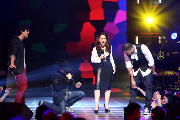 "CW's ""The Next"" Taping - Los Angeles, California [performance,entertainment,performing arts,event,stage,public event,performance art,musical,musical theatre,music artist,artists,gloria estefan,john rich,joe jonas,nelly,l-r,california,los angeles,cw,the next taping]"