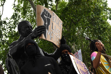 Nelson Mandela Black Lives Matter Demonstrations In UK Continue Into The Weekend