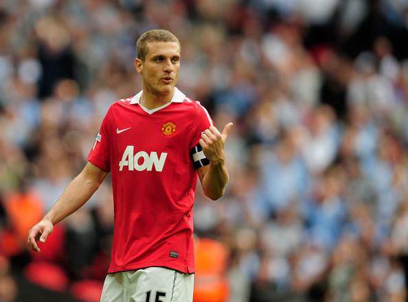 Nemanja Vidic Nemanja Vidic of Manchester United gestures during the FA Cup sponsored by E.ON semi final match between Manchester City and Manchester United at Wembley Stadium on April 16, 2011 in London, England.