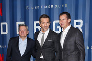"""(L-R) Ted Sarandos, Chief Content Officer at Netflix, Ryan Reynolds and Scott Stuber, Head of Original Films at Netflix, attend Netflix's """"6 Underground"""" New York Premiere at The Shed on December 10, 2019 in New York City."""