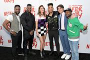 """(L-R) Blair Underwood, Amin Joseph, Shelley Hennig, Kyle Harvey, Harrison Holzer and Jordan Rock attend Netflix's """"The After Party"""" special screening on August 15, 2018 in Los Angeles, California."""